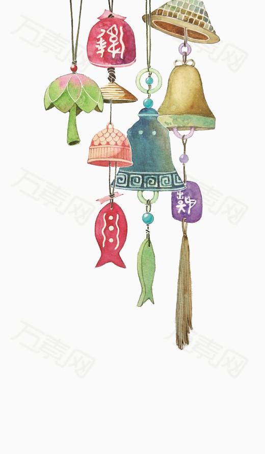 日系风铃 水彩 卡通 手绘