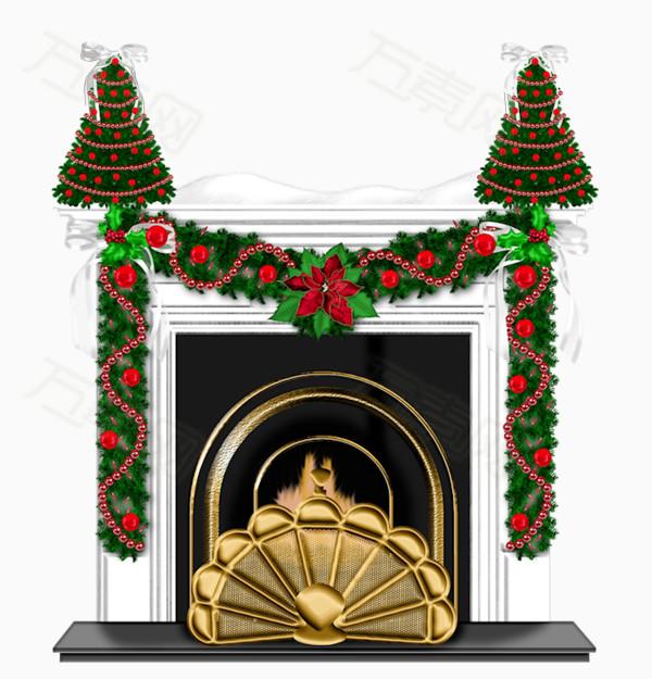 卡通手绘圣诞壁炉装饰