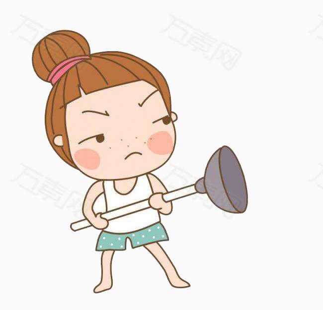 女孩 马桶搋 卡通手绘 打架 生气的人 丸子头