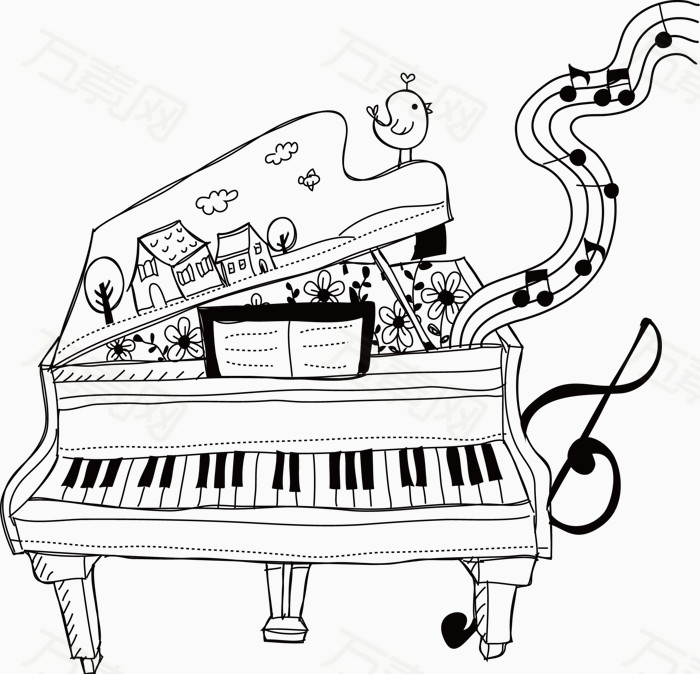 动漫钢琴简笔画图片