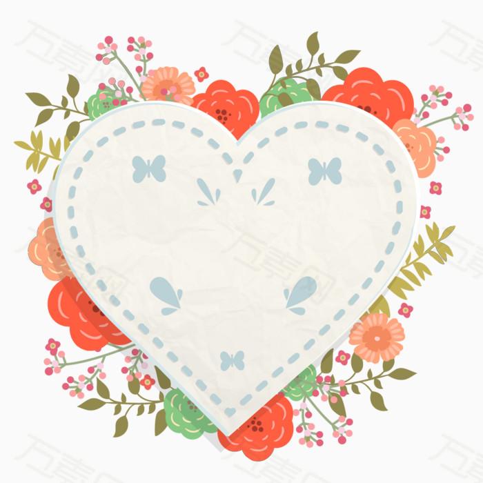 卡通花朵心形边框