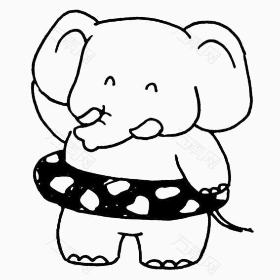 简画线条卡通动物游泳圈大象