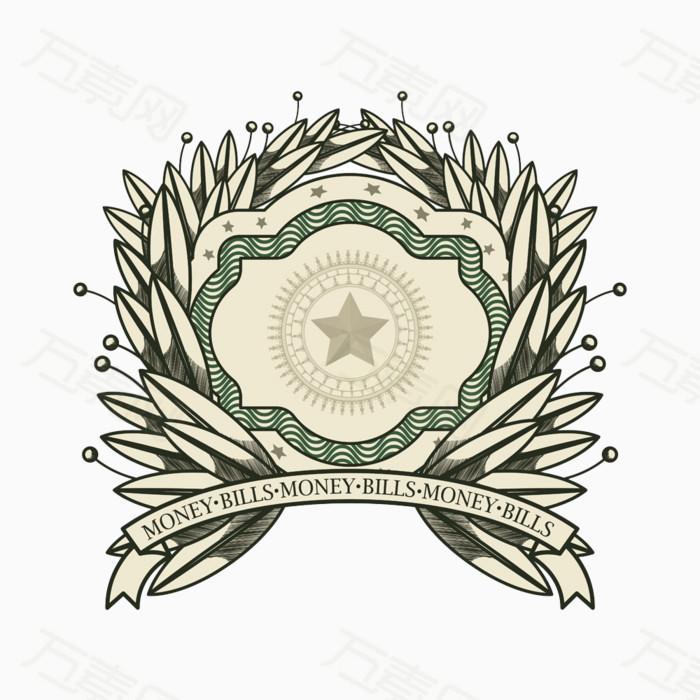 叶子花纹徽标徽章