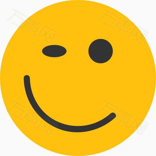 万素网 素材分类 黄色表情icon眨眼  4633