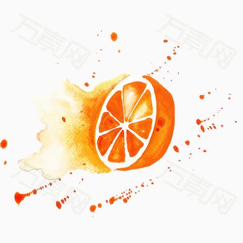 切开橙子手绘图