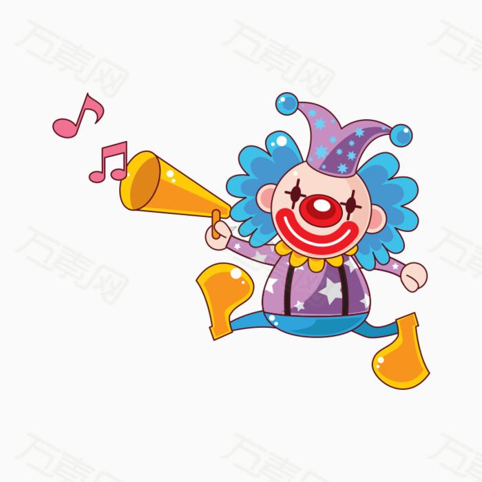手绘卡通吹喇叭小丑