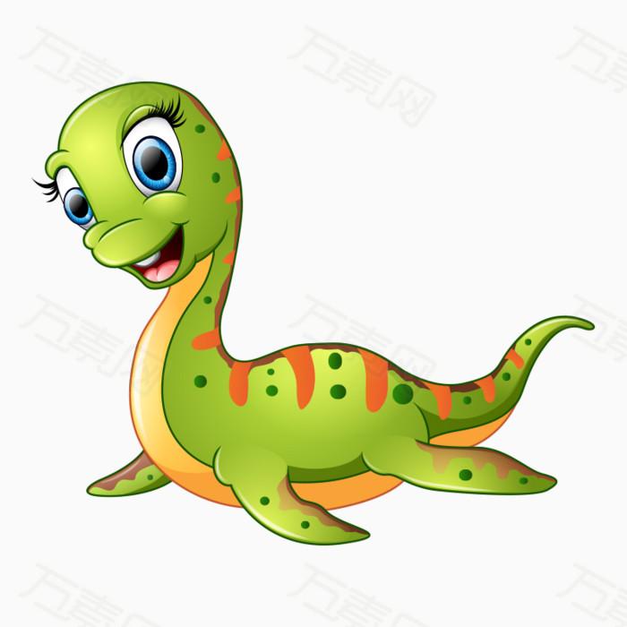 小恐龙 微笑 绿色 手绘 卡通 动物 可爱