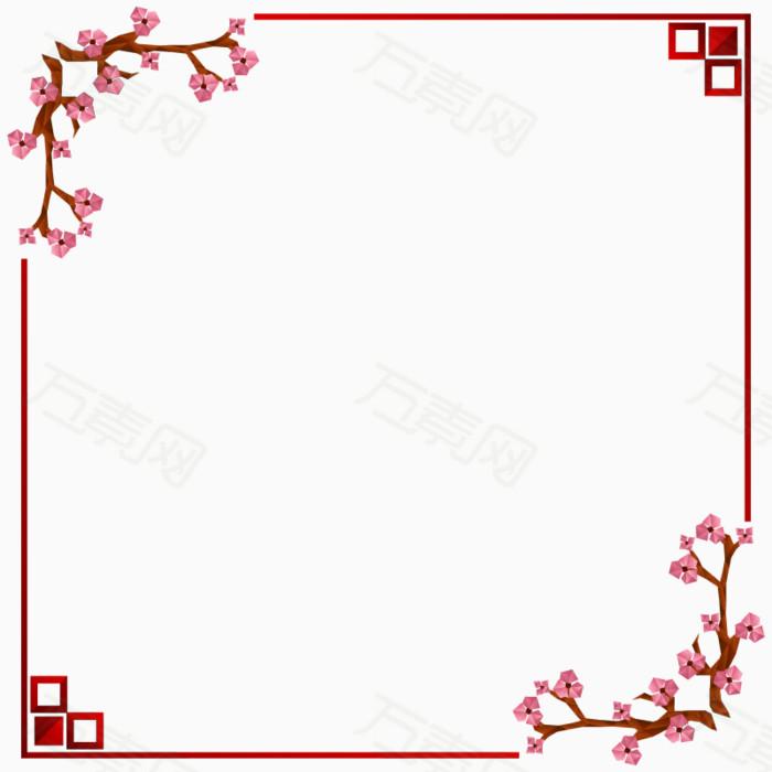 花边框png 简约 花朵 图片框 梅花 花枝 清新 边框素材