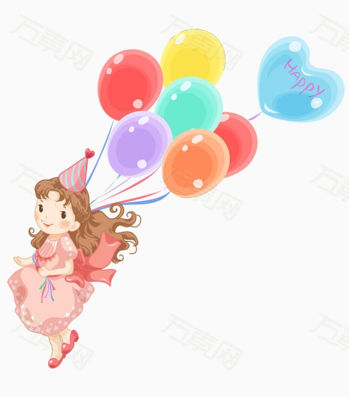 拿着气球的小女孩图片