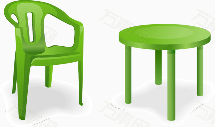矢量手绘绿色桌椅