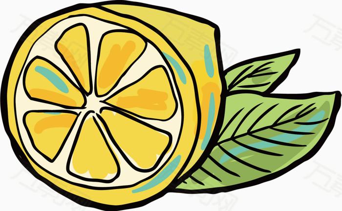 卡通线条水果食物柠檬