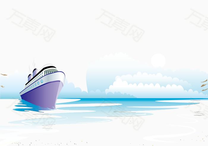 大海和轮船风景矢量素材图片免费下载_效果元素_万素网