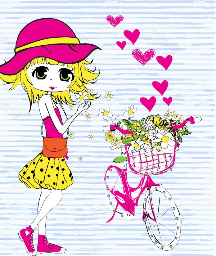 卡通女孩自行车花朵心