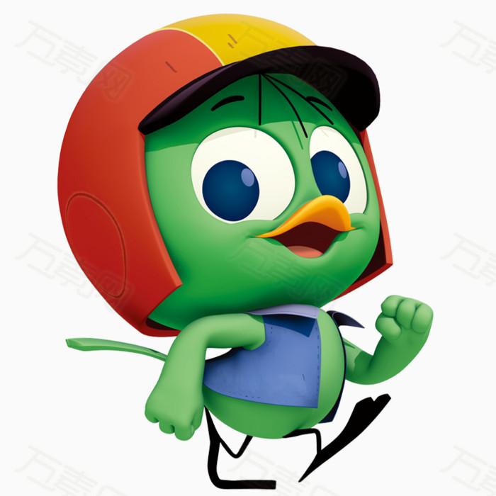 走路 绿色 小鸡 卡通   拟人化  彩色 可爱 小动物