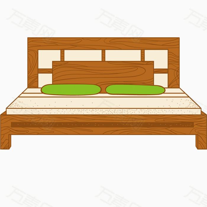 矢量手绘木床家具素材图片