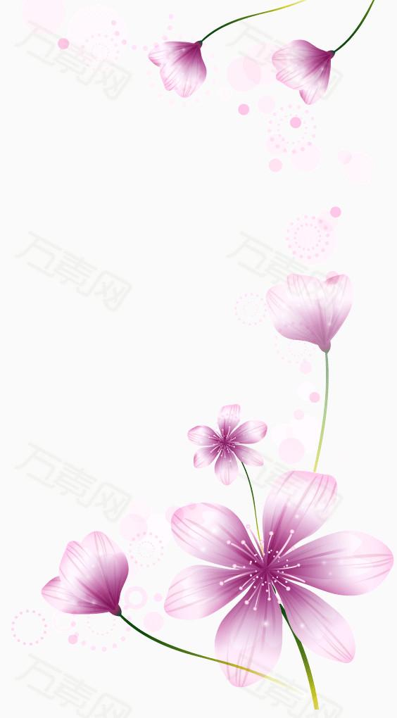 矢量梦幻花 韩国花纹  时尚 经典 紫色 梦幻 花朵装饰 花朵ps素材
