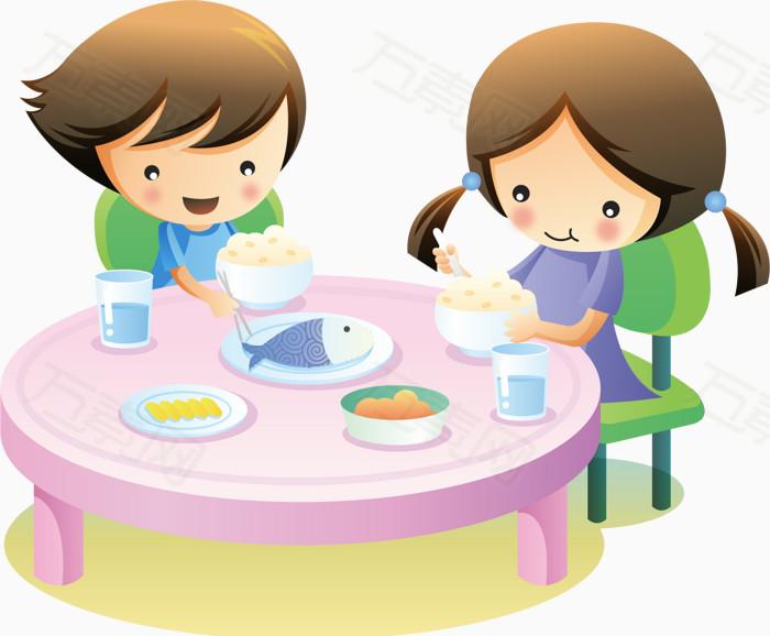 卡通小孩吃饭