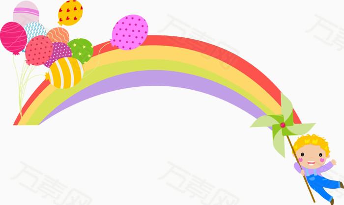 气球 手绘 漂浮 彩虹 人物 风筝