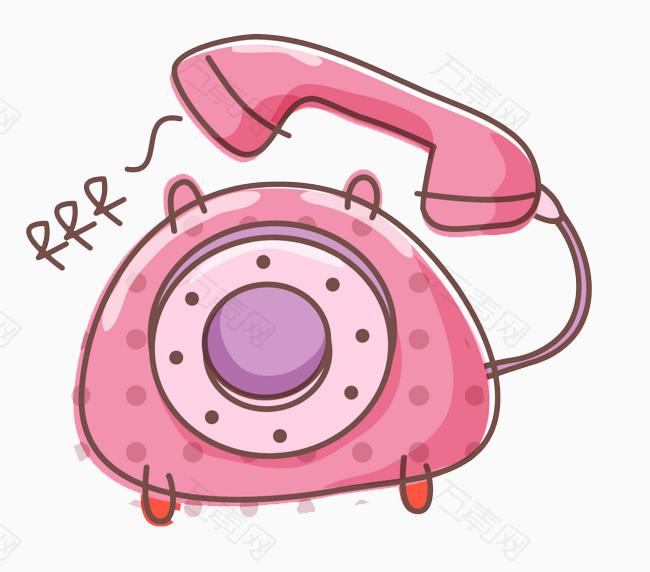 卡通粉色电话图片