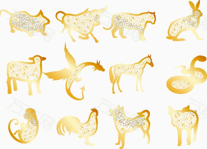 十二生肖 生肖 鼠 牛 虎 兔 龙 蛇 马 羊 猴 鸡图片