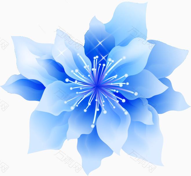 蓝色手绘花朵装饰