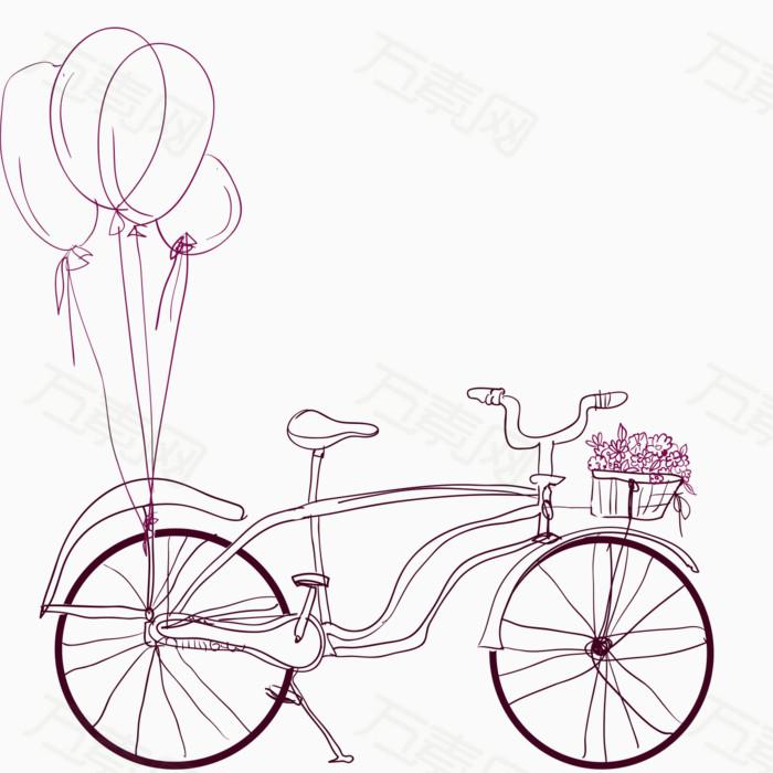 手绘线稿自行车