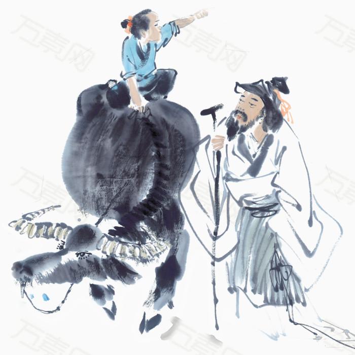 清明牧童节日牛风景老人古风手绘
