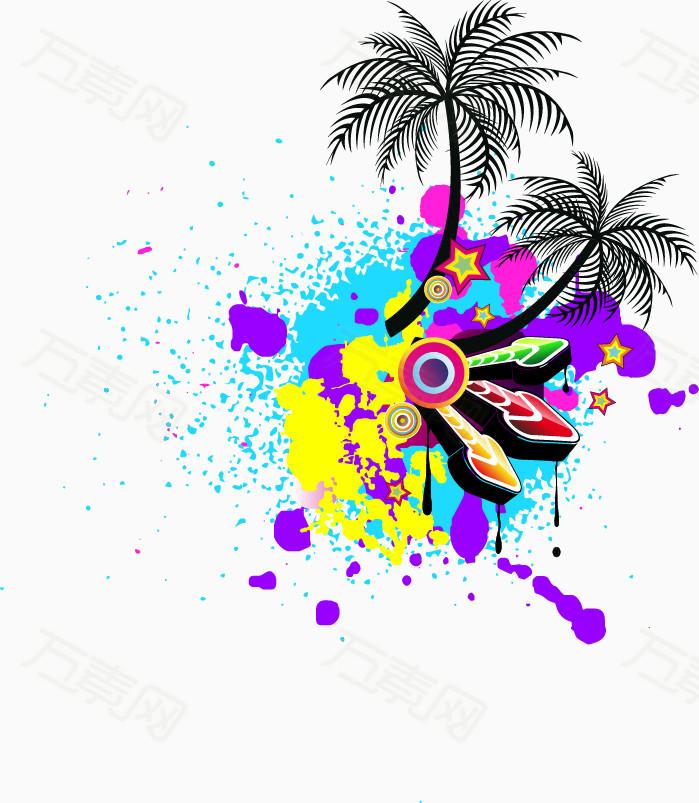 手绘彩色喷绘椰树音乐元素