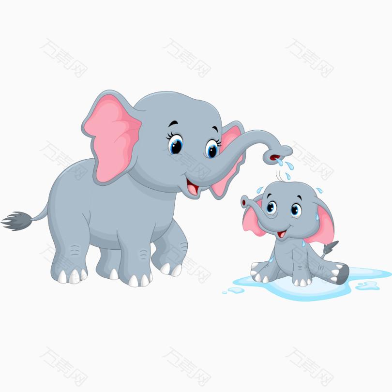 玩水的卡通大象图片