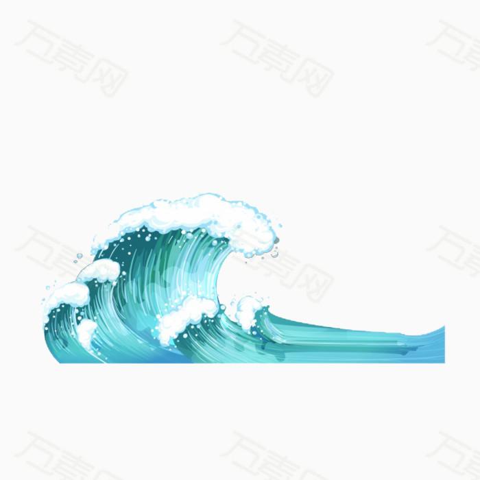 大海浪花卡通图片_素材跳跃海浪浪花鲤鱼跳跃鱼类帆船海边沙滩椰子树_素材分享
