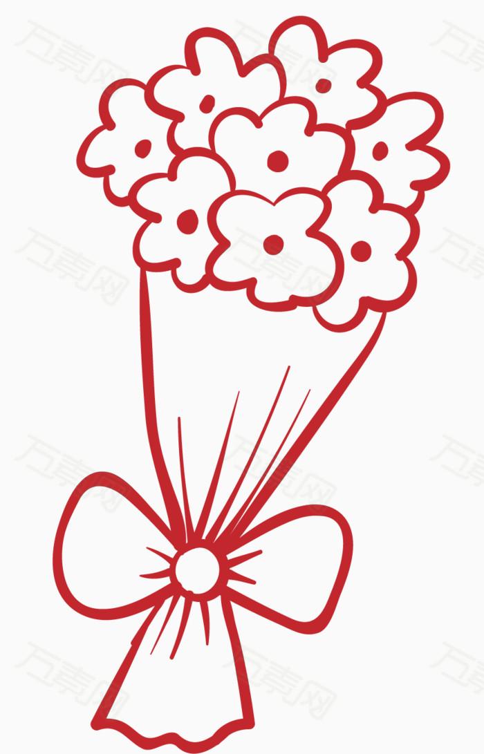 简笔花束 手绘花束 花朵素材 植物花卉 情人节