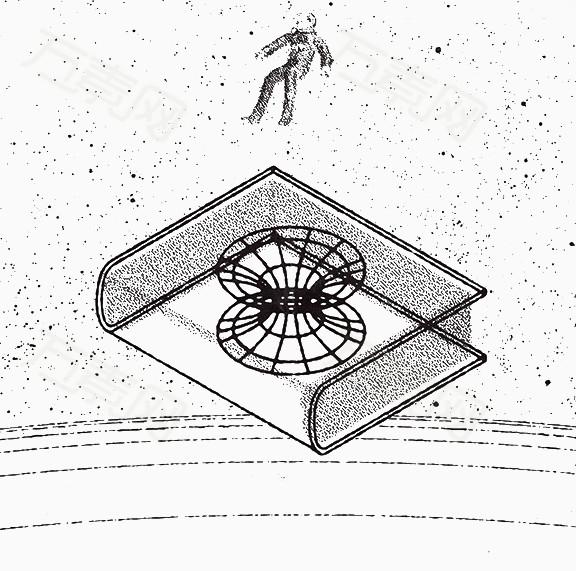 万素网提供黑白手绘漂浮的人和书png设计素材,背景