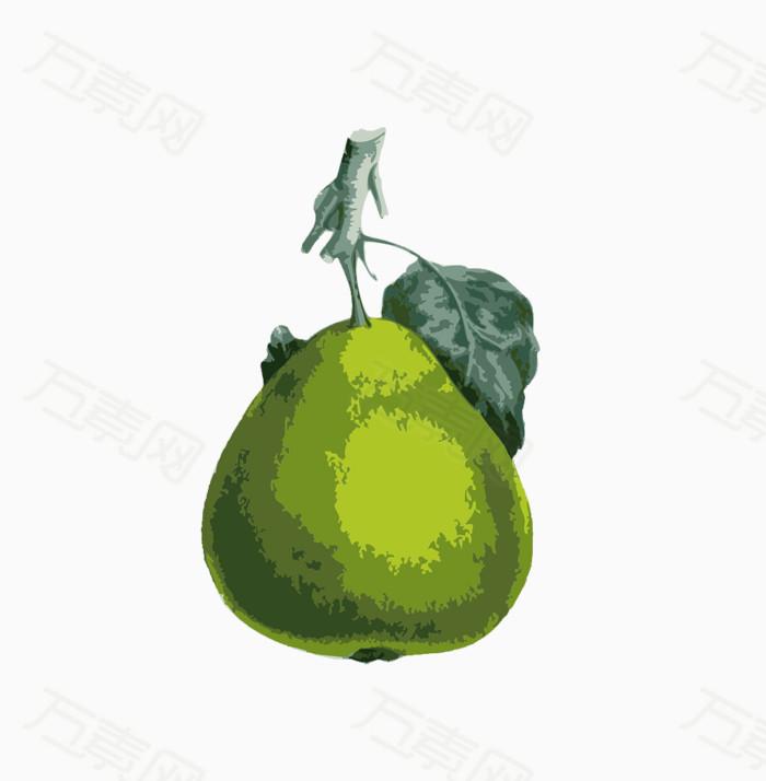 卡通水彩绿色梨子图片免费下载_卡通手绘_万素网