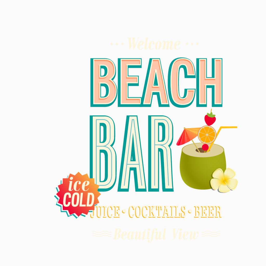 悠闲海滩酒吧海报矢量素材