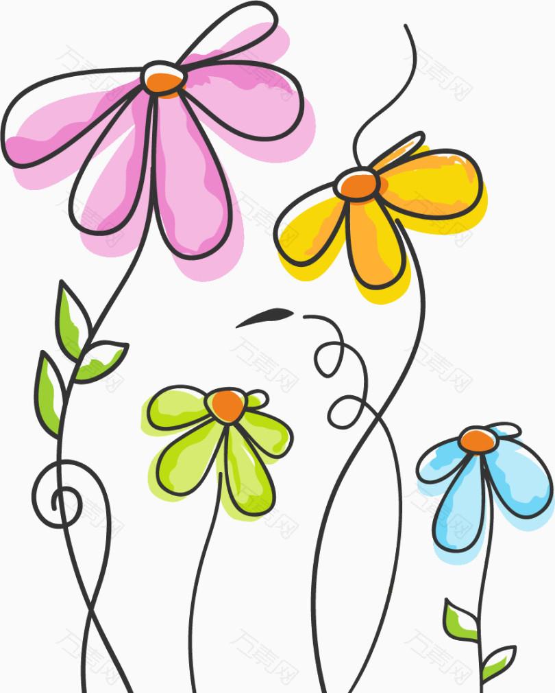 手绘线条花朵蓝色_花卉植物_883*1101px_编号288758
