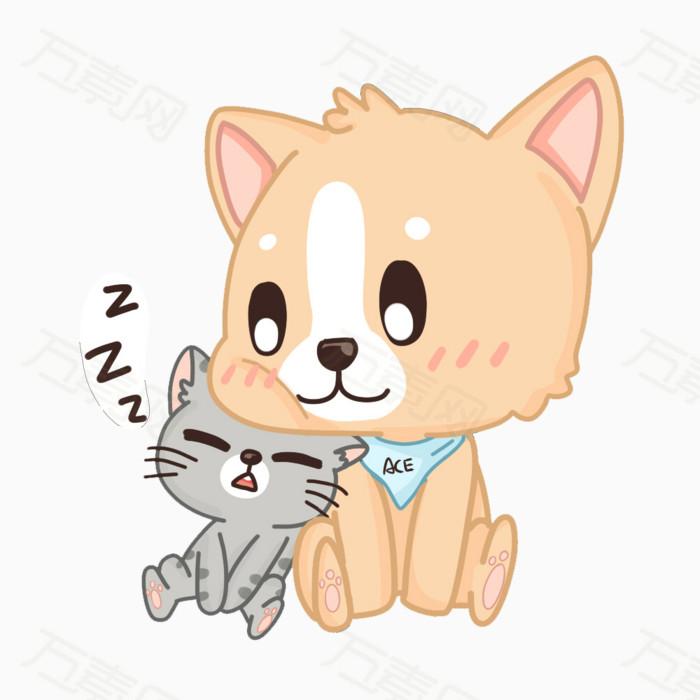 卡通 手绘 柯基 动物 宠物 猫咪