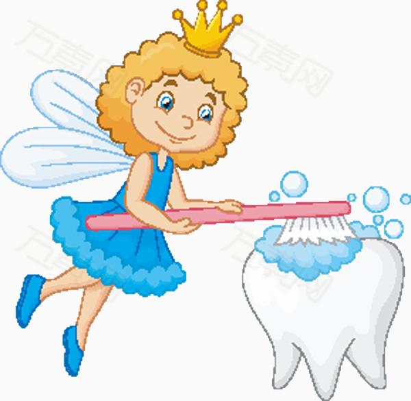 花仙子刷牙卡通护牙素材