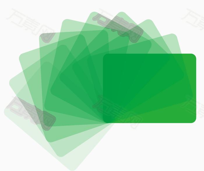 矢量绿色圆角矩形旋转叠影
