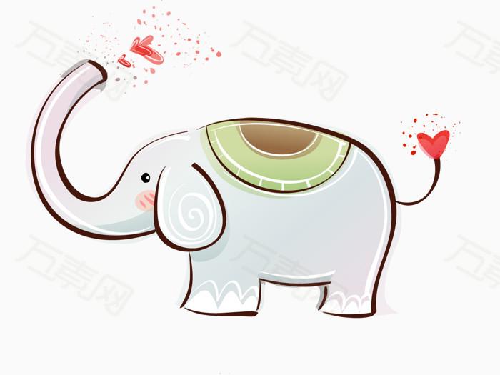 长鼻小象 小象  爱心 卡通动物 可爱动物