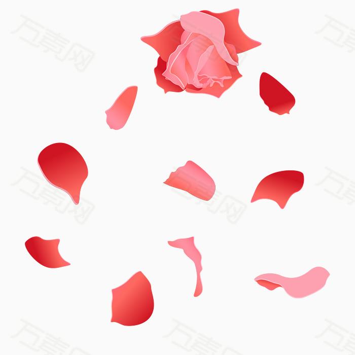 鼠绘玫瑰花花瓣矢量图