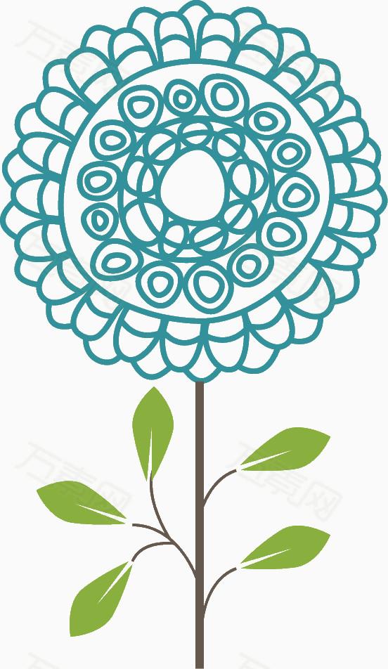 蓝色手绘线条花朵图片免费下载_花卉植物_万素网