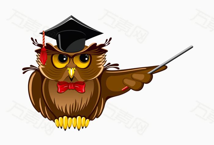 卡通手绘学士帽猫头鹰