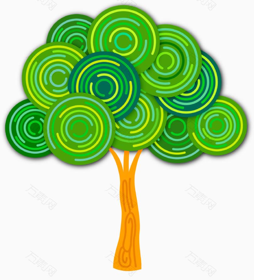 大树树叶形状的圆圈photoshop绘制图3d图片