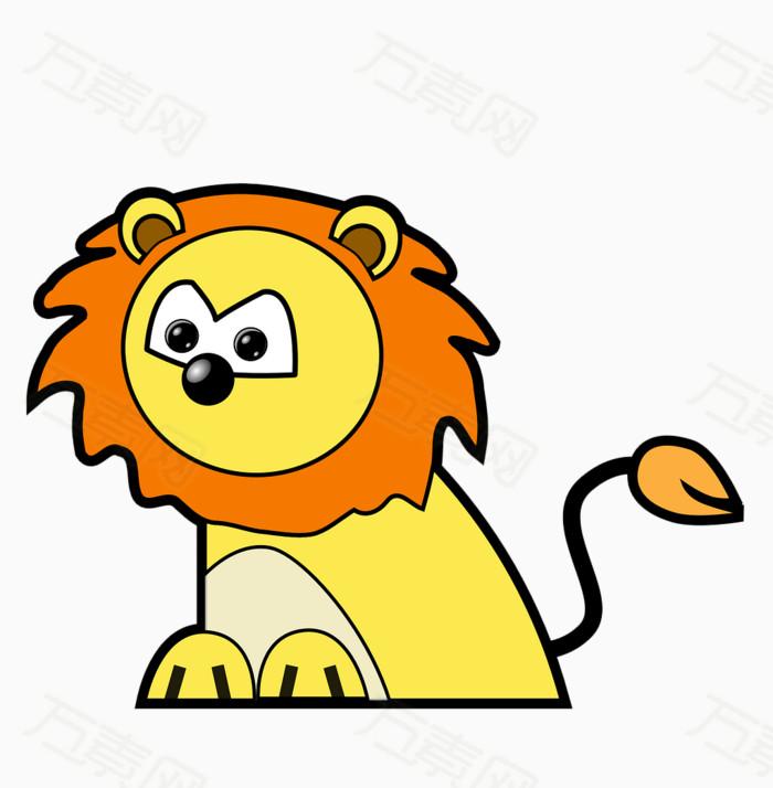 手绘 彩绘 卡通 插画元素png 彩色 狮子 简笔画 动物