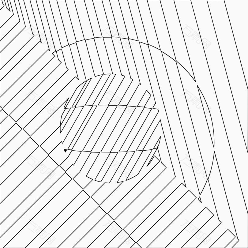 线条抽象背景带圆形弧形_不规则图形_2400*2400px