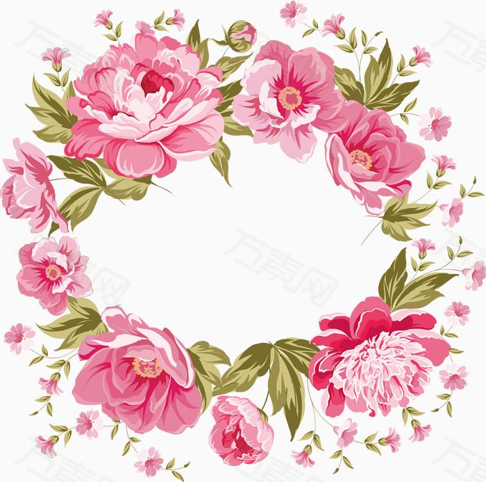 粉玫瑰花环水彩手绘装饰元素