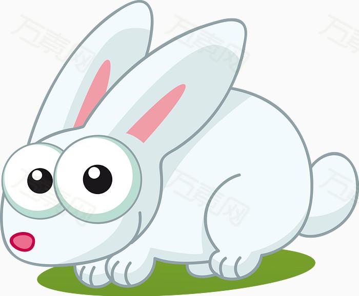 卡通可爱小白兔矢量图图片免费下载_卡通手绘_万素网