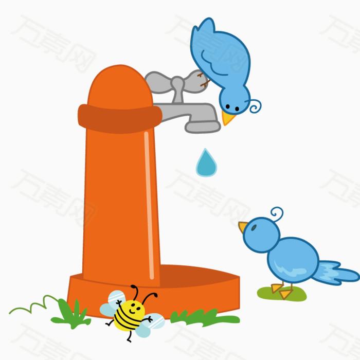 小鸟 手绘卡通 可爱 玩水龙头 喝水 png元素 场景