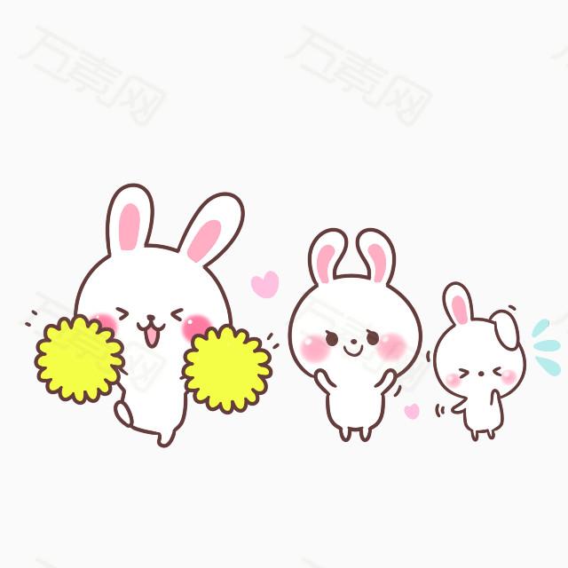 卡通三只跳舞的兔子图片