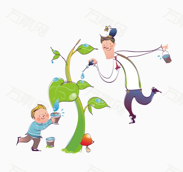 分享者hi杨小鑫 万素网提供给小树苗浇水的父子png设计素材,背景素材图片
